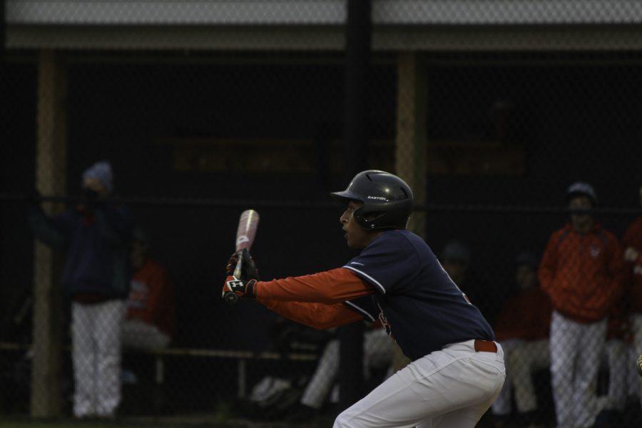 Freshman Amrit Gorle prepares to bat.