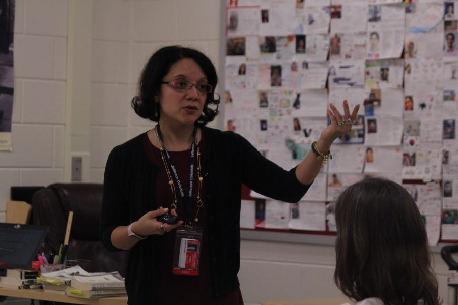 English teacher Suzette Henry talks to 2021 students and parents about humanity courses.
