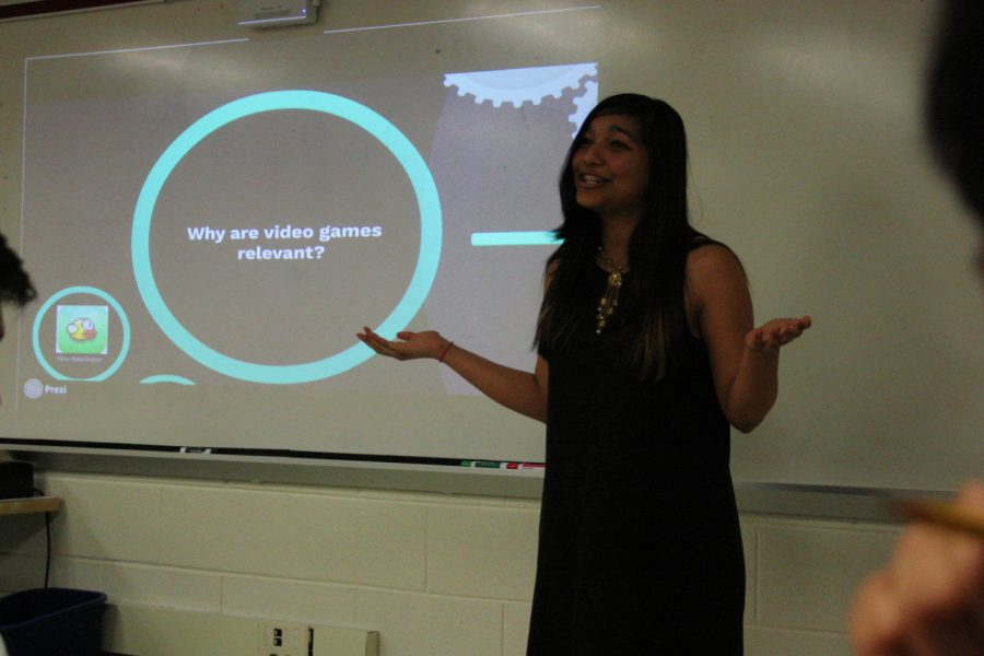 Freshman Medha Gupta presents about how video games relate to real life.