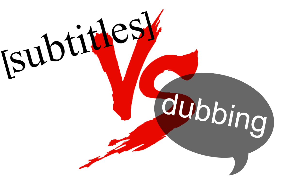 A graphic depicting the debate between subtitles and dubbing.