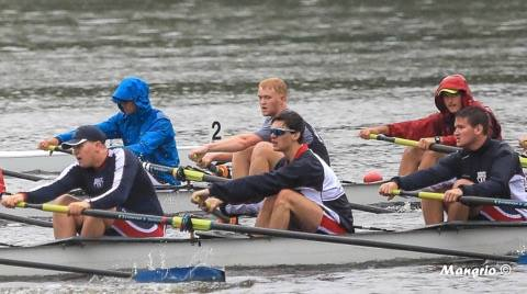 TJ Men's Crew rows through rainy waters at the Ted Phoenix Regatta on April 22nd. Photo courtesy of Sam Mangrio.