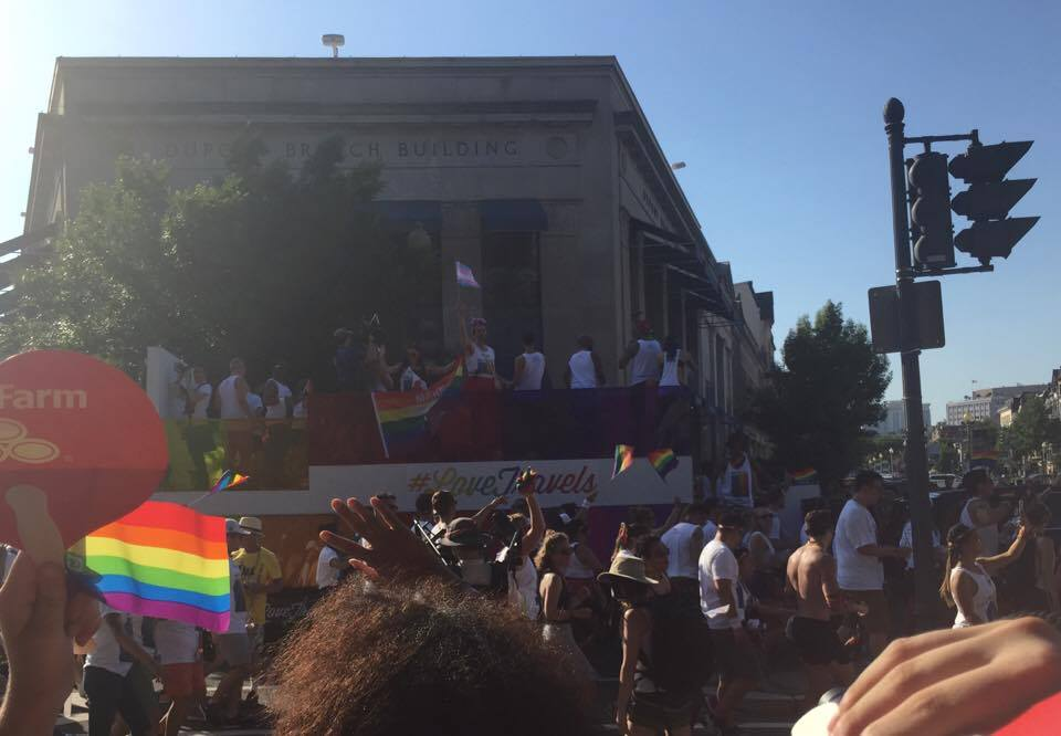 #LoveTravels float at the D.C. pride parade