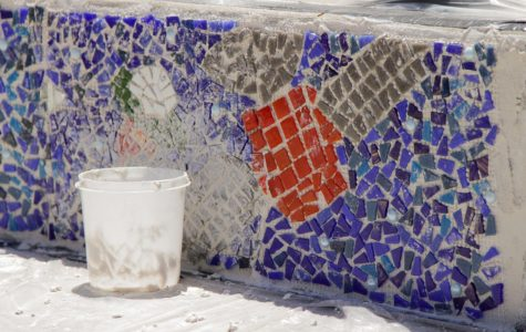 Amphitheater art: mosaics installed in courtyard
