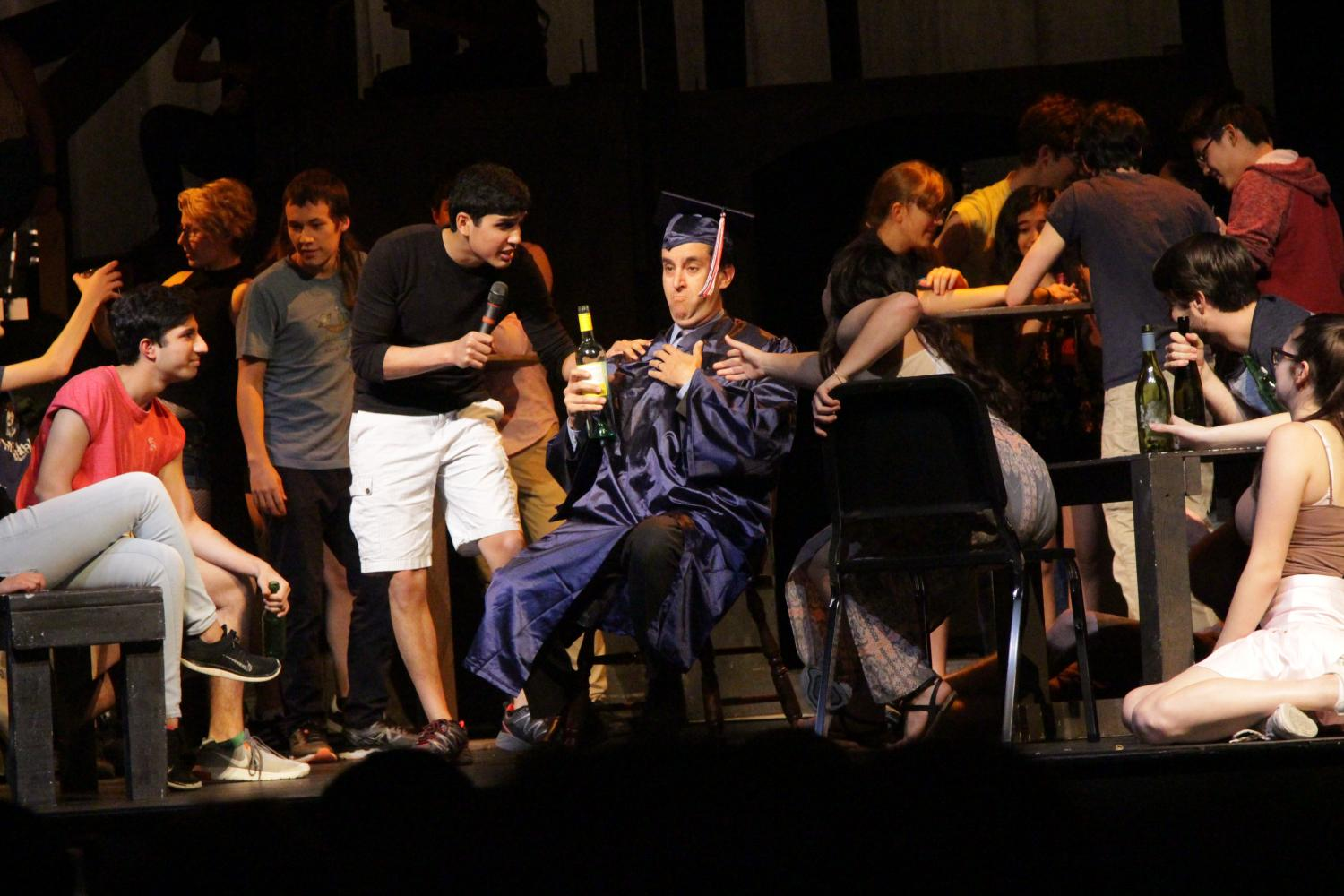 Dr. Glazer performs his role in Les Miserables, one last time before he leaves TJ.