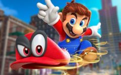 "Mario flings his cap, also known as ""Cappy,"" into the air in search of another target. This new capture ability has been one of, if not the most, striking features of Nintendo's newest Mario game."