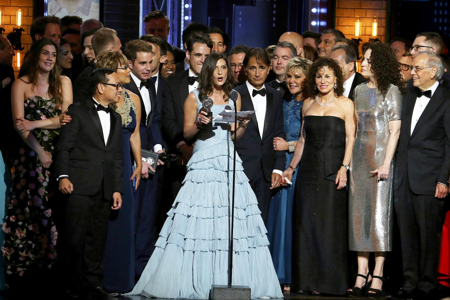 The cast and crew of Dear Evan Hansen after winning best musical at the 71st annual Tony Awards