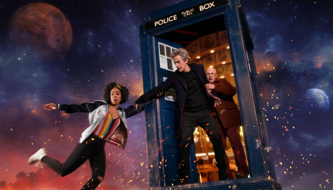 Peter Capaldi, Matt Lucas, and Pearl Mackie star in