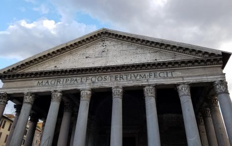 The entrance to the famed Pantheon in Rome features Latin writing at its entrance.