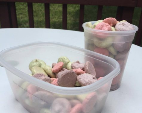 Pink, purple, and green meringue cookies