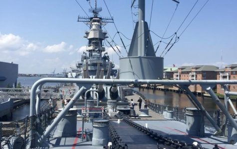 The view aboard the USS Wisconsin, one of the final battleships constructed by the U.S. Navy.