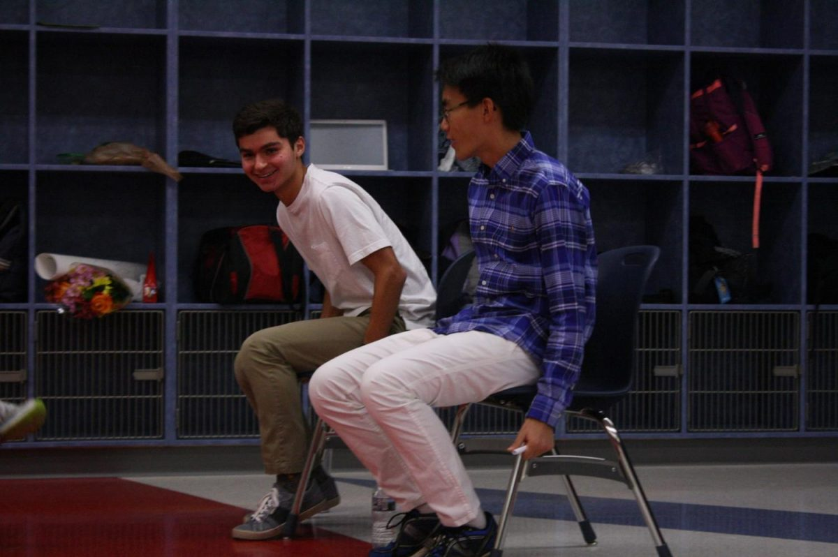Senior Nick Begotka chuckles at senior Will Sun's acting for the asking.
