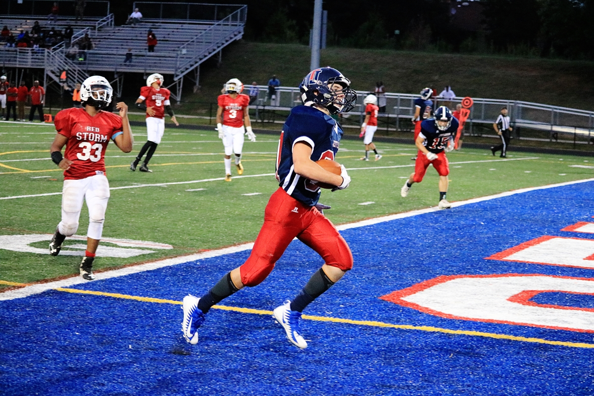 Gerner sprints into the endzone, scoring the one touchdown of the game for Jefferson. The game ended with a final score of 8-22 for Capital Christian Academy.
