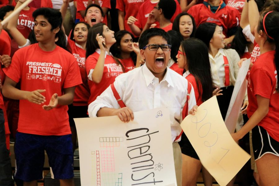Unleashing his spirit in the pep rally cheer, Freshman Arul Nigam celebrated fervidly alongside his fellow freshmen as Class of 2021 strived to be the most spirited class on class color day. During the final pep rally on Oct. 13, the freshman endeavored to maintain their lead over the sophomores by displaying spirited and exuberant roars with balloons and banners drifting high above the freshmen's passionate chants.