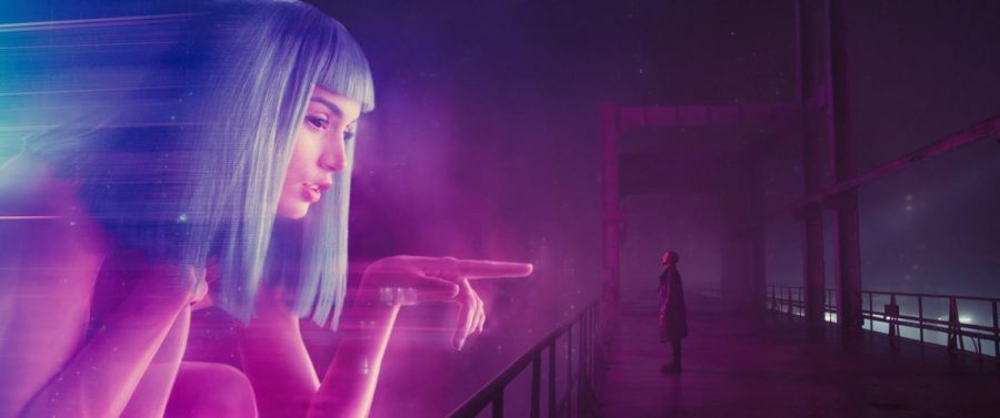 "K confronts a hologram of Joi. Released on Oct. 8, this film takes place 30 years after 1982 cyberpunk film ""Blade Runner."""