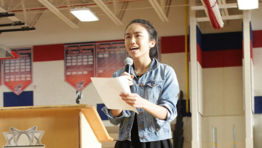 """Talking about how the class unity can help raise awareness and funds for activities as well as charities, Treasurer - elect Tiffany Ji gives her campaign speech. """"What I've learned during my involvement with homecoming has taught me the power and importance in unity...imagine what we could raise in all four years here at TJ,"""" Ji said."""