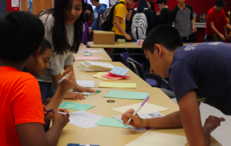 Relay for Life sophomores Manu Onteeru, Monica Saraf, Medha Gupta, and Pranav Wadhwa work on cards to send to cancer patients with the American Cancer Society at the Relay for Life Kickoff Event. The event took place on Nov. 15 during eighth period.