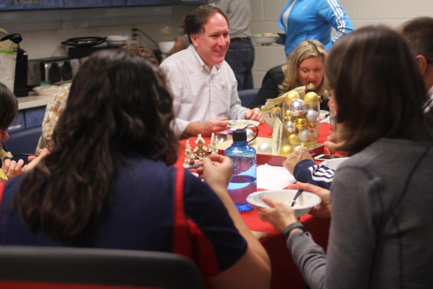 Soup Club members share soup at a weekly meeting. The meeting took place on Dec. 1 during lunch.