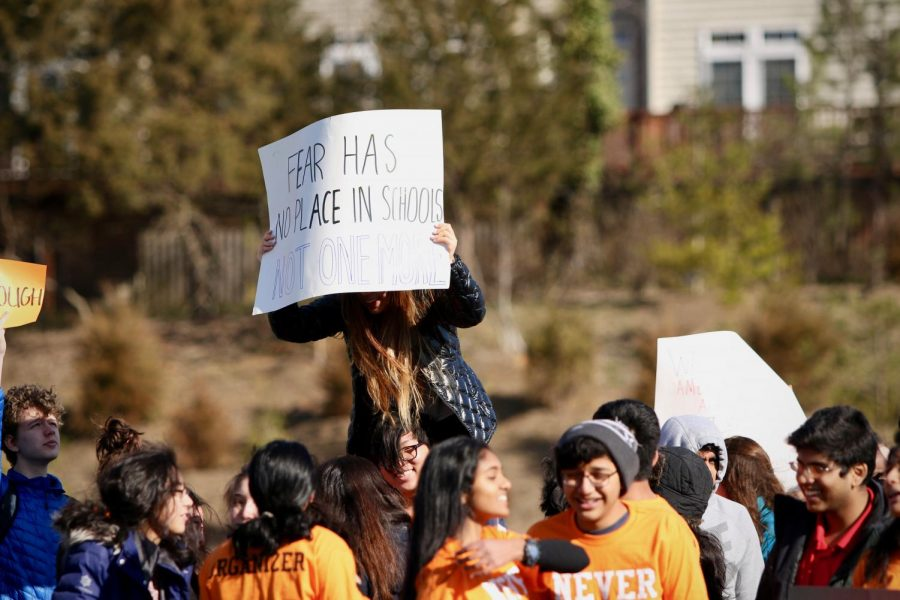 On March 14, over 800 students left class at 10 a.m. to walk up to the stadium. Many brought posters and prepared speeches to make a statement about gun violence in schools.