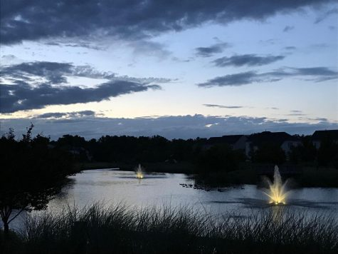 This is a picture I took of the pond in the evening on June 23, 2017. The fountains light up, and a group of geese swim across the water.