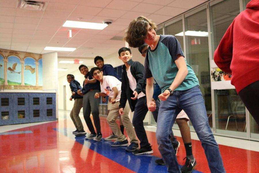 """""""We did a mime tug of war. So [we learned to] emphasize everything more than you need to. Emphasize everything ... more than you think you need to,"""" said freshman Owen Grannis."""