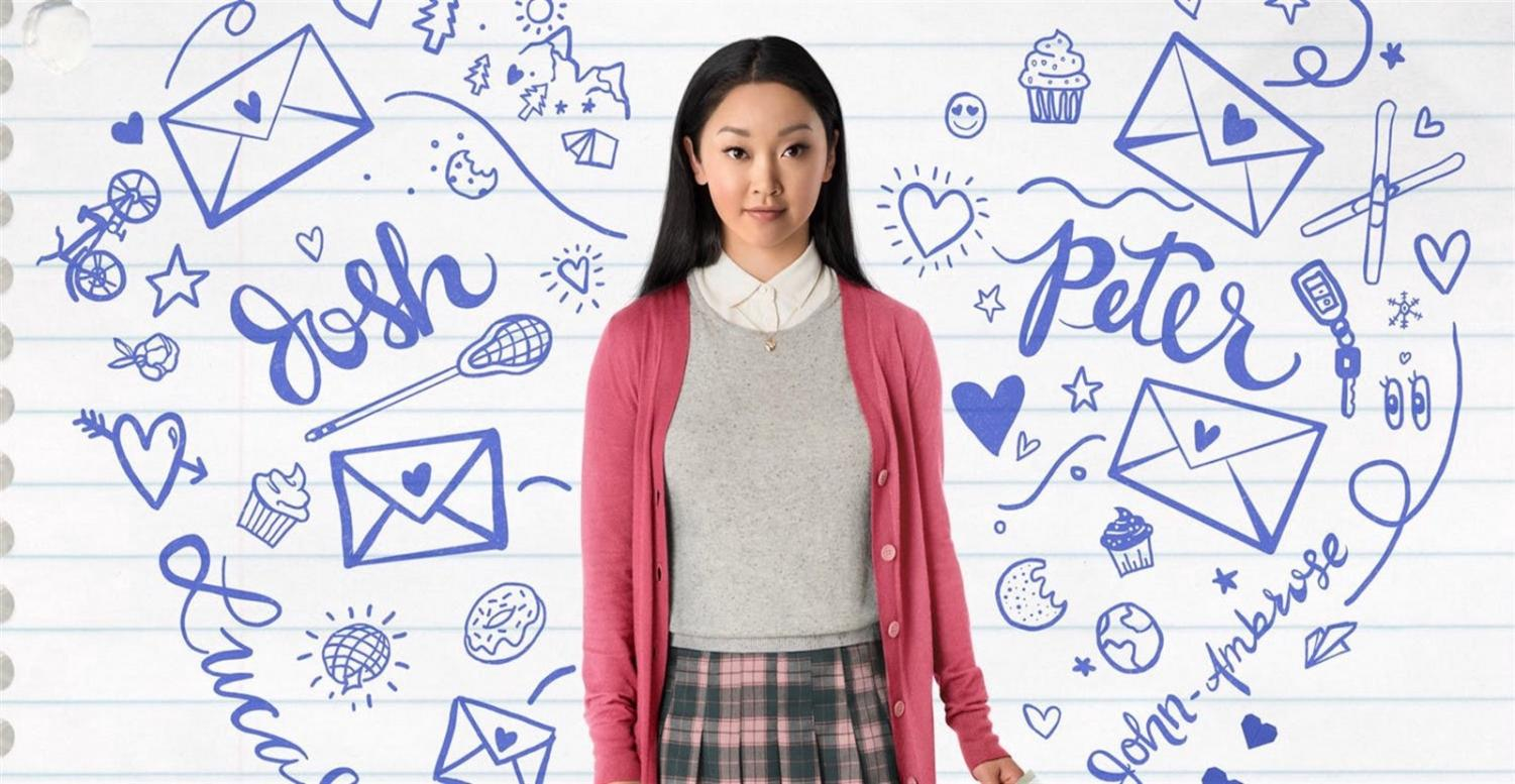 Image courtesy of Plan A Magazine. Lara Jean Covey, played by Lana Condor, surrounded by doodles about Josh, Peter, her letters, and love.