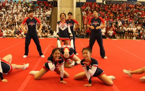The Jefferson Varsity cheerleading team at the final homecoming pep rally of 2018. Photo courtesy of Jiny Cho.