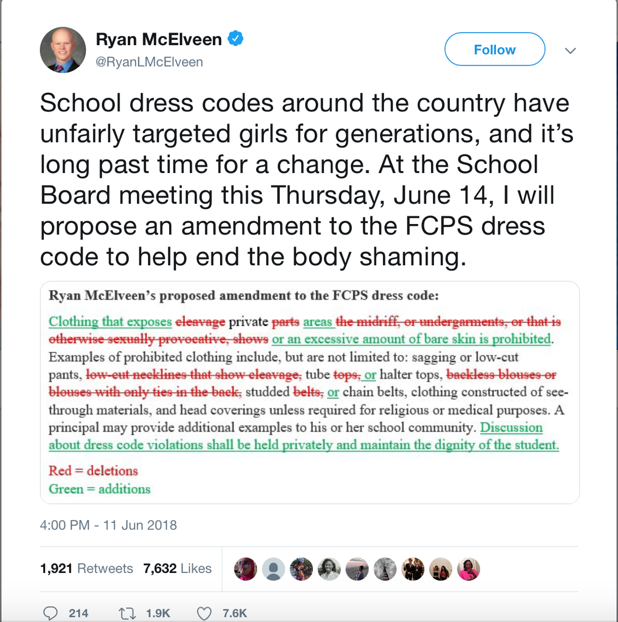Ryan McElveen tweets his thoughts on the FCPS dress code