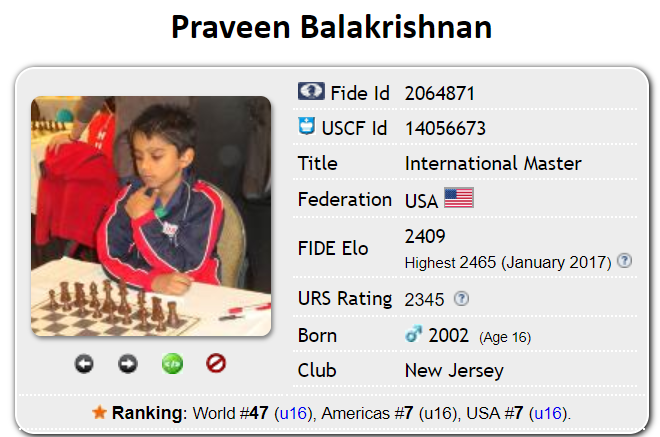 Junior Praveen Balakrishnan's profile on Chess-DB, a database of chess players. Although slightly dated, Balakrishnan's prolific under-16 US and international rankings are shown.