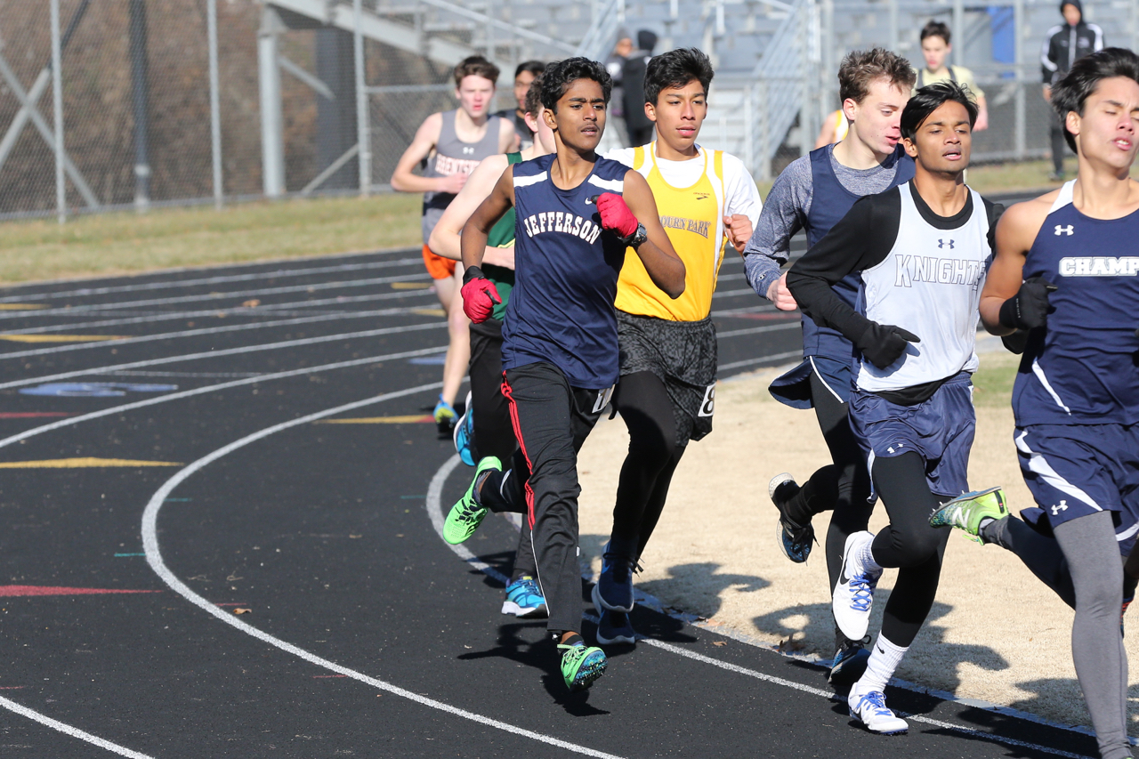 Sophomore Varun Chilukuri at the Bobcat Invitational meet which took place during the 2017-2018 winter season.