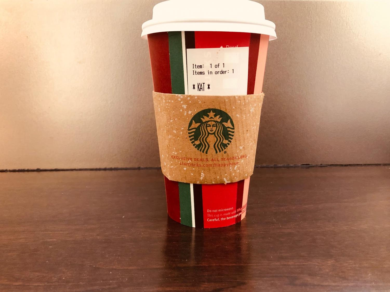 The Peppermint Mocha, one of Starbucks' signature holiday drinks, as well as the new holiday cups introduced each year, bring a festive feeling into the atmosphere.