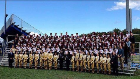 Thomas Jefferson Marching Colonials and Color Guard at the 2018 Bands of America competition.