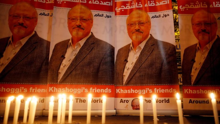A memorial to the late Jamal Khashoggi