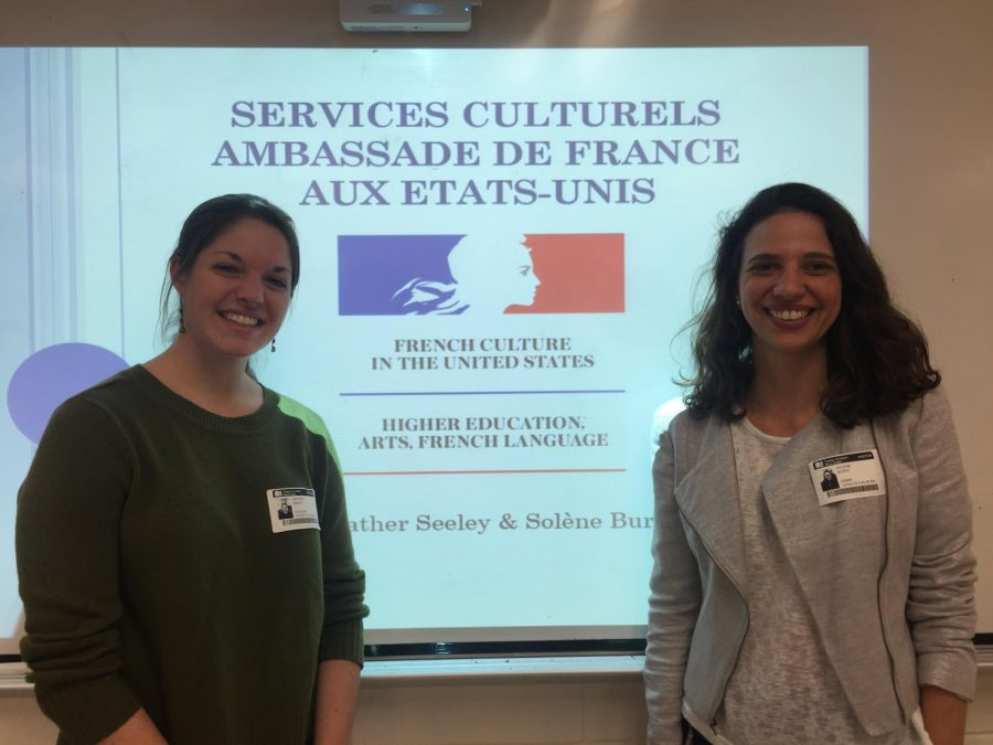 French+embassy+workers+Sol%C3%A8ne+Burtz+and+Heather+Seeley+came+to+speak+with+French+Honor+Society+members+about+the+significance+of+learning+French+outside+of+Jefferson.+