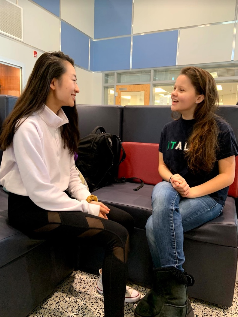 Freshmen Reena Wang and Alyssa Gorbaneva reflect on their time at Jefferson in the Noble Commons.