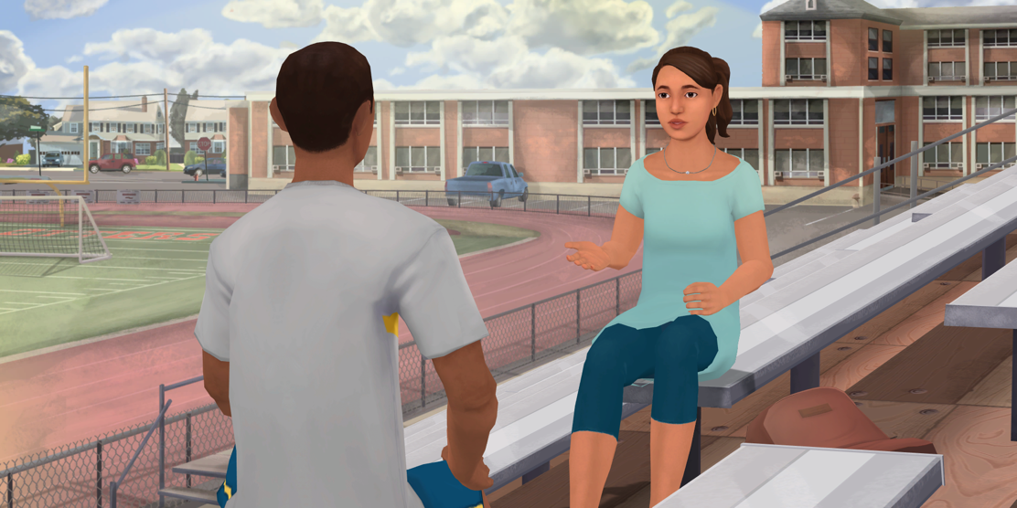 In order to teach students how to support their friends during a hard time, the company, Kognito, developed a game that simulated a conversation between fictional characters, Michael and Ana. Sophomores played this and chose the dialogue Michael would say during the Friend2Friend session with their counselors on Dec. 5. Photo courtesy of Kognito website.