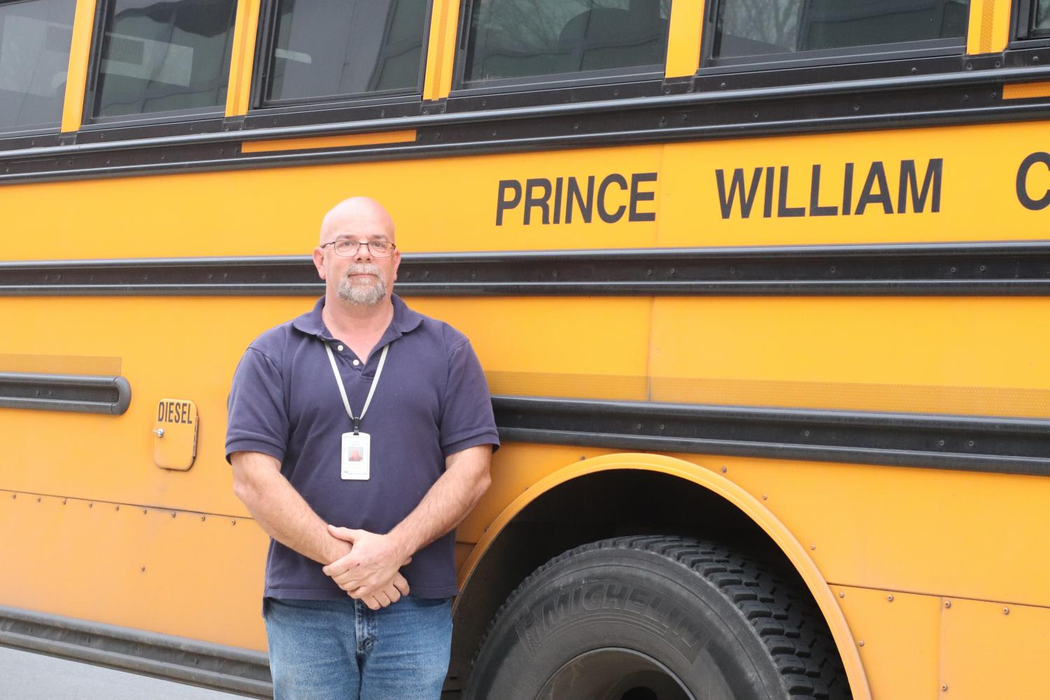 Mr. Brian Means spends between seven and eight hours a day driving his bus to and from Jefferson. Photo courtesy of Claire Wilson.