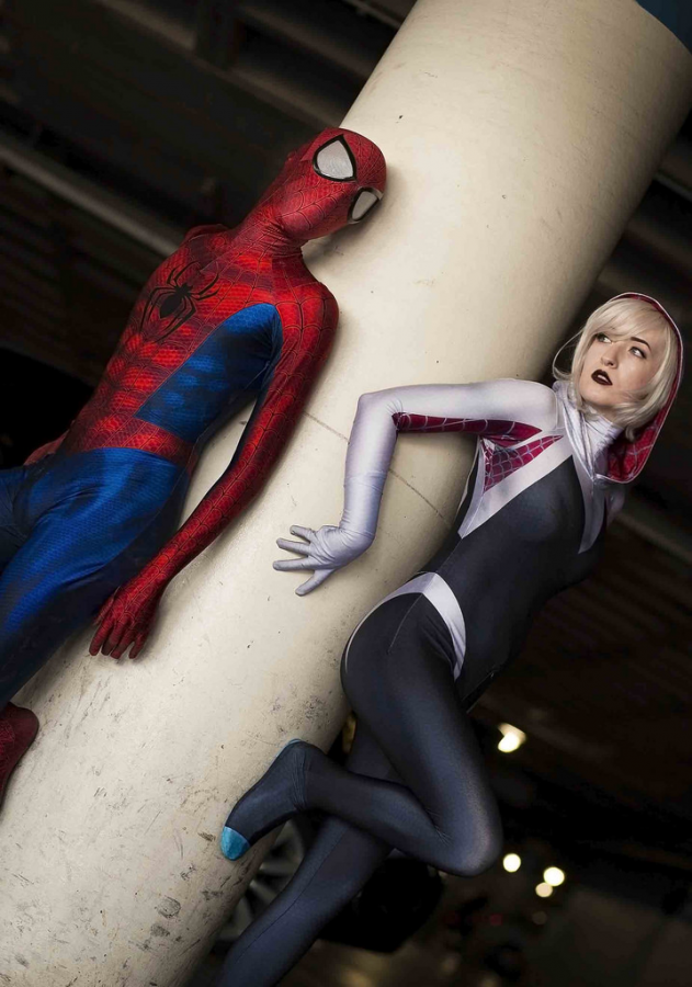 Spider-Man+and+Spider-Gwen%2C+also+known+as+Spider-Woman%2C+stand+side+by+side+ready+to+take+on+the+world%2C+bringing+about+diversity+as+a+woman+behind+the+mask.+