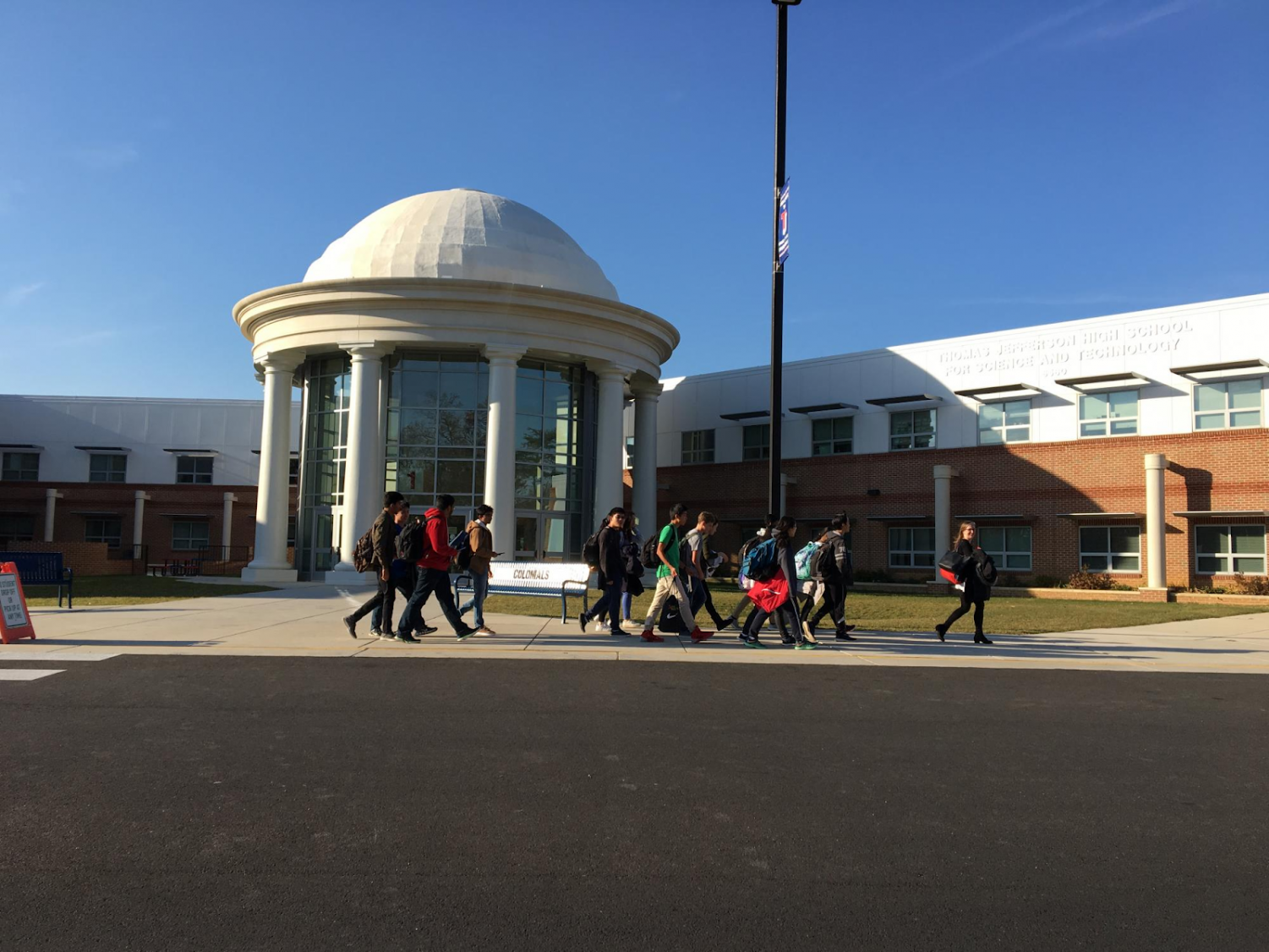 The Holmer Middle School tutors walking from the Jefferson dome. Photo courtesy of TJHSST.