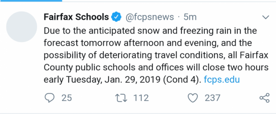 Tuesday, Jan. 29 was the first early release of the 2018-2019 school year for Fairfax County.