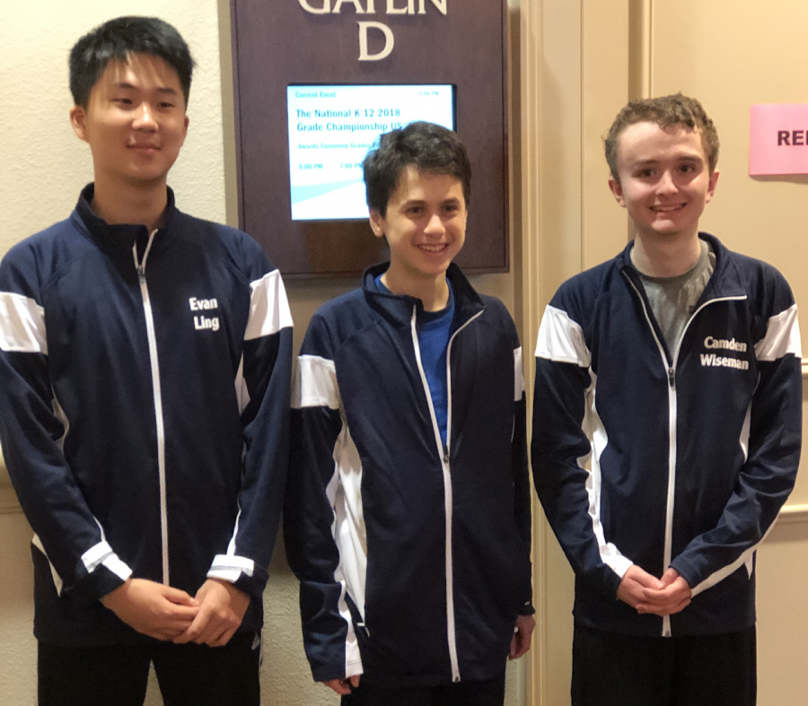 Left to Right: Evan Ling, Garrett Heller, Camden Wiseman representing Jefferson at the 2018 National Scholastic K-12 Championship. Photo courtesy of the Jefferson chess team.