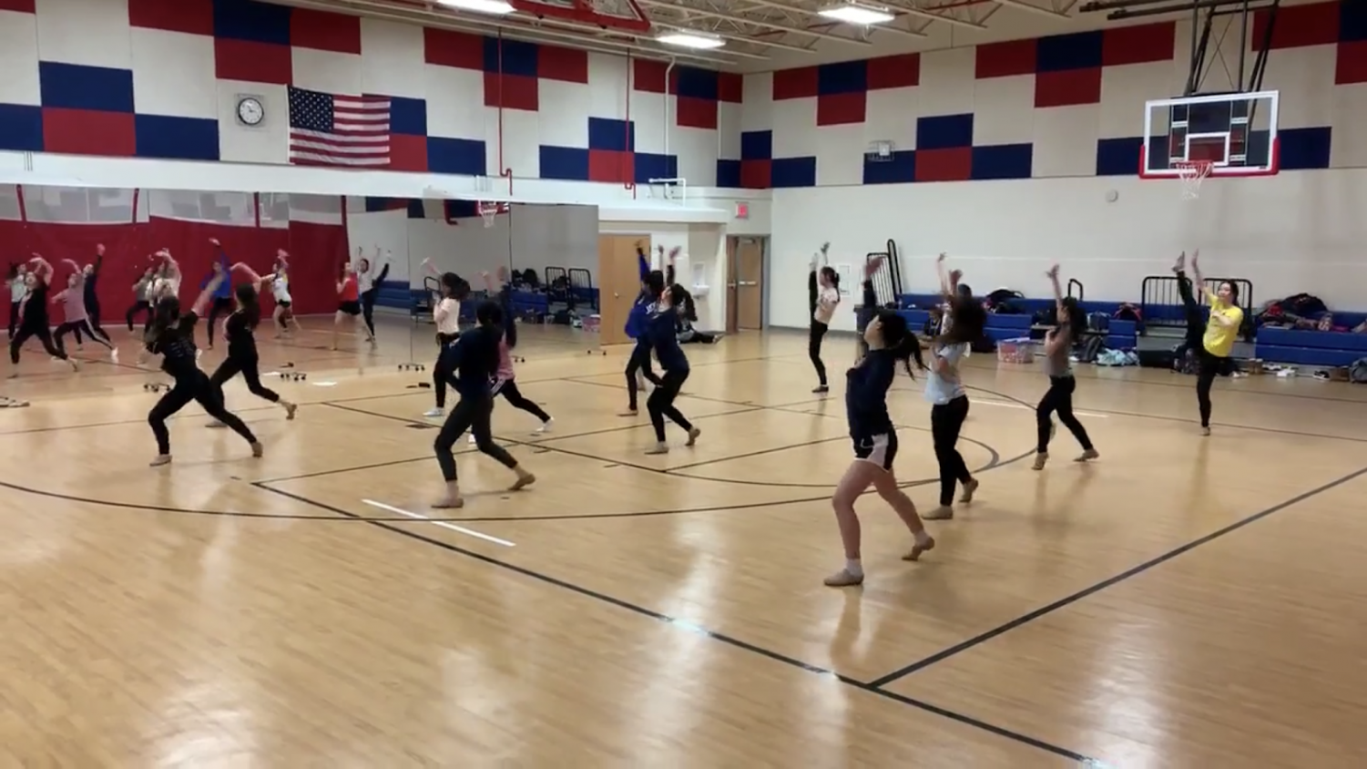 Dance team practices their competition routines in front of the new mirrors. Photo courtesy of Caroline Mack.