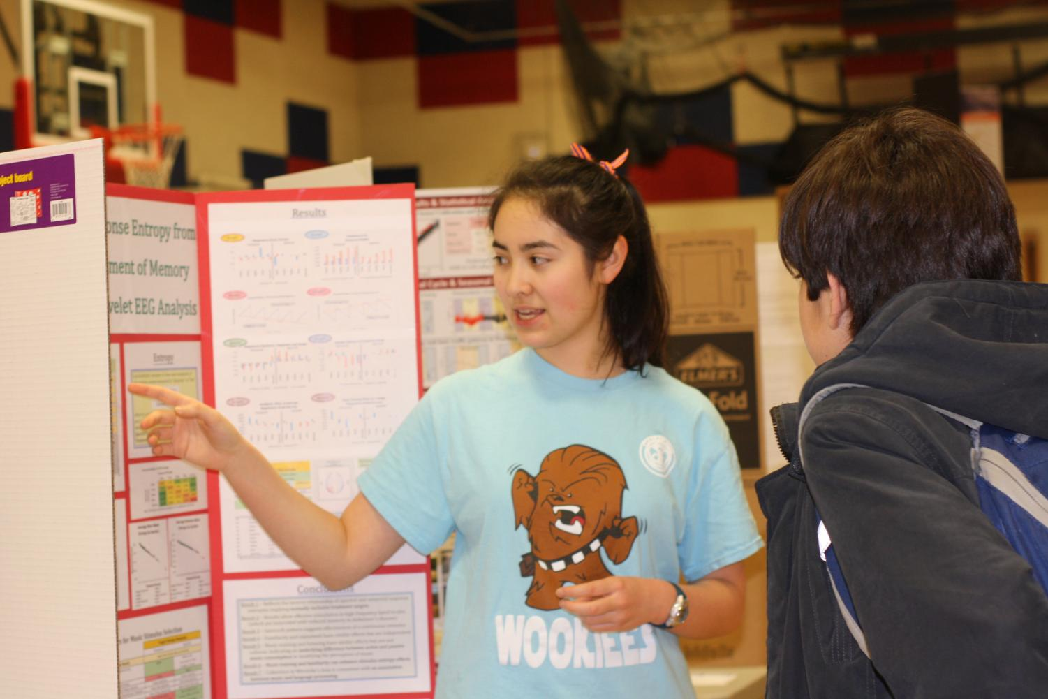 A+competitor+presents+her+project+to+visitors+of+the+Science+Fair.