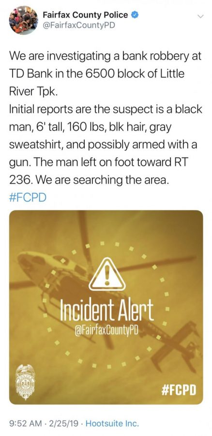 Screenshot of the tweet from Fairfax County Police that many believe caused the safety protocol on Feb. 25th.
