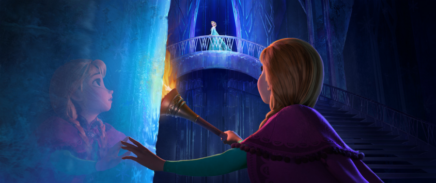 In a scene from Frozen Ana watches her sister Elsa standing alone in her ice castle.
