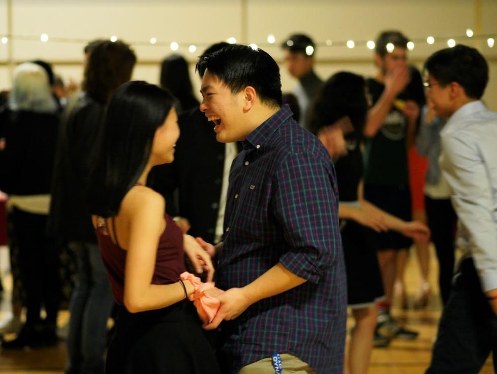 Seniors Wan Li and Maxwell Lee enjoy a night of jazz music and swing dancing at A Swingin' Valentine's on Feb. 15.