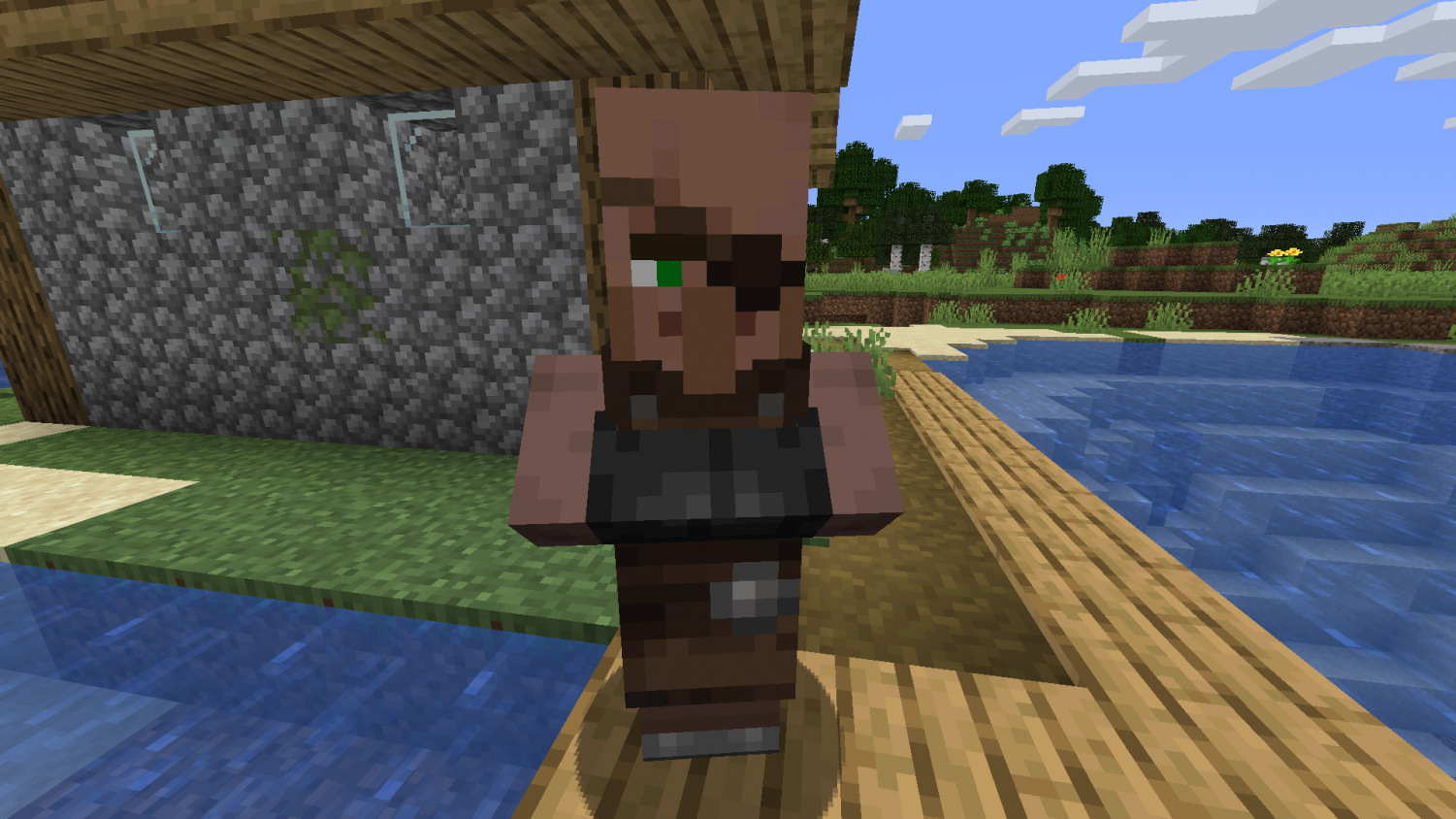 "An ""eyepatch villager"", one of many artificially-intelligent entities in the video game Minecraft, roams through its village. The villager is one of many tweaks to the popular game in the upcoming update known as Village and Pillage."