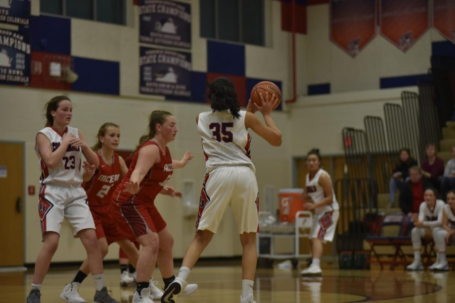 Senior Sami Kale looks around the court to pass the ball as freshman Erin Brodnik blocks a defender charging towards Kale. Though girls varsity basketball team lost against McLean High School 49-59, they finished the season with a successful record of 17 wins and nine losses. Like the girls varsity basketball team, the freshman team also ended their season with a successful run with 12 wins and only four losses.