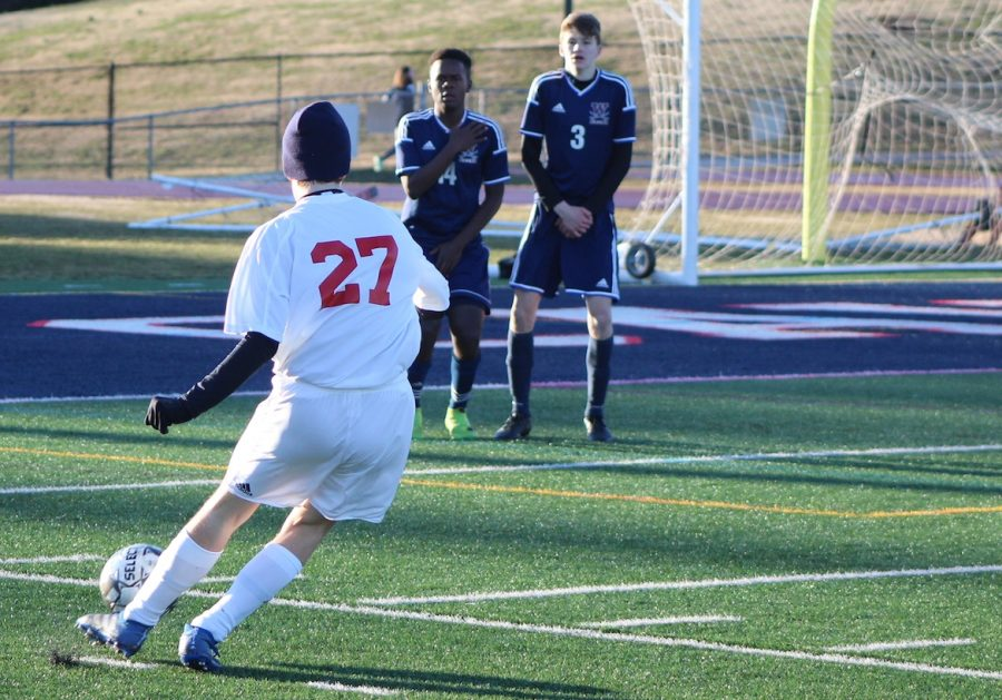 Moments before kicking the ball in a free kick just 20 yards away from the net, defender Todd Ritter runs up to the ball hoping to double Jefferson's lead after midfielder David Xiang score on a cross to tie up the game 1-1.