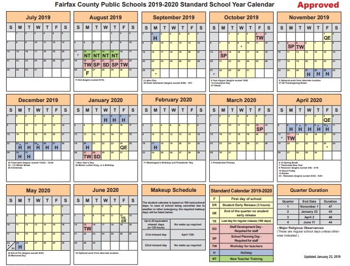 Fairfax County School Calendar 2019 Changes made to Fairfax County Public Schools' 2019 2020 Calendar