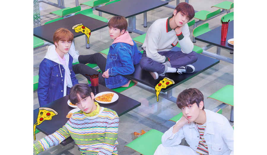 The members of TXT pose in a concept photo highlighting their youthful image. Photo from BigHit Entertainment.